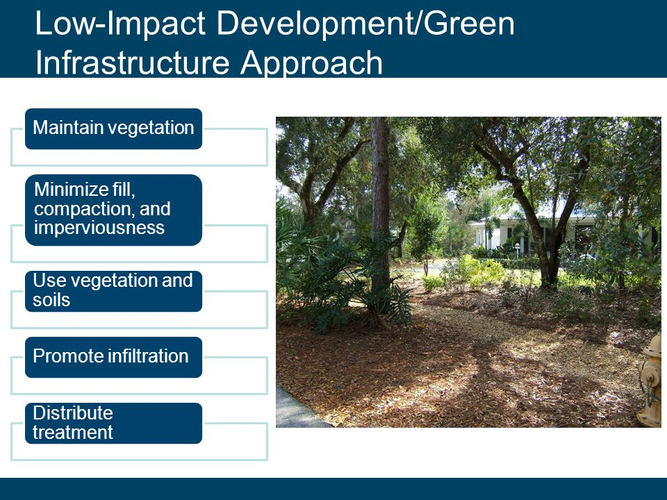 Click to edit section Low-Impact Development/Green Infrastructure Approach Maintain vegetation Minimize fill, compaction, and imperviousness Use vegetation and soils Promote infiltration Distribute treatment