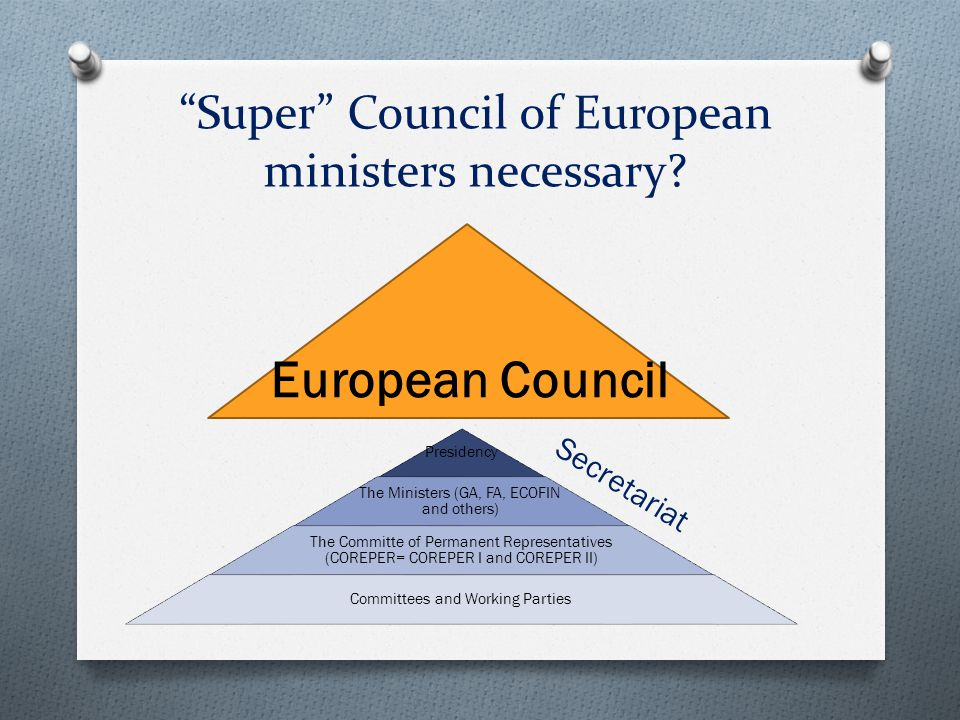 Super Council of European ministers necessary.