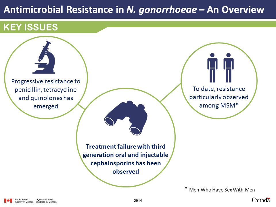 2014 KEY ISSUES Progressive resistance to penicillin, tetracycline and quinolones has emerged Treatment failure with third generation oral and injectable cephalosporins has been observed To date, resistance particularly observed among MSM* Antimicrobial Resistance in N.