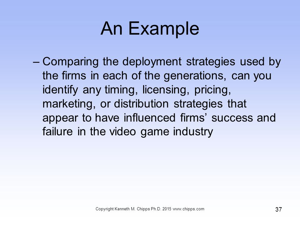 An Example –Comparing the deployment strategies used by the firms in each of the generations, can you identify any timing, licensing, pricing, marketing, or distribution strategies that appear to have influenced firms' success and failure in the video game industry Copyright Kenneth M.