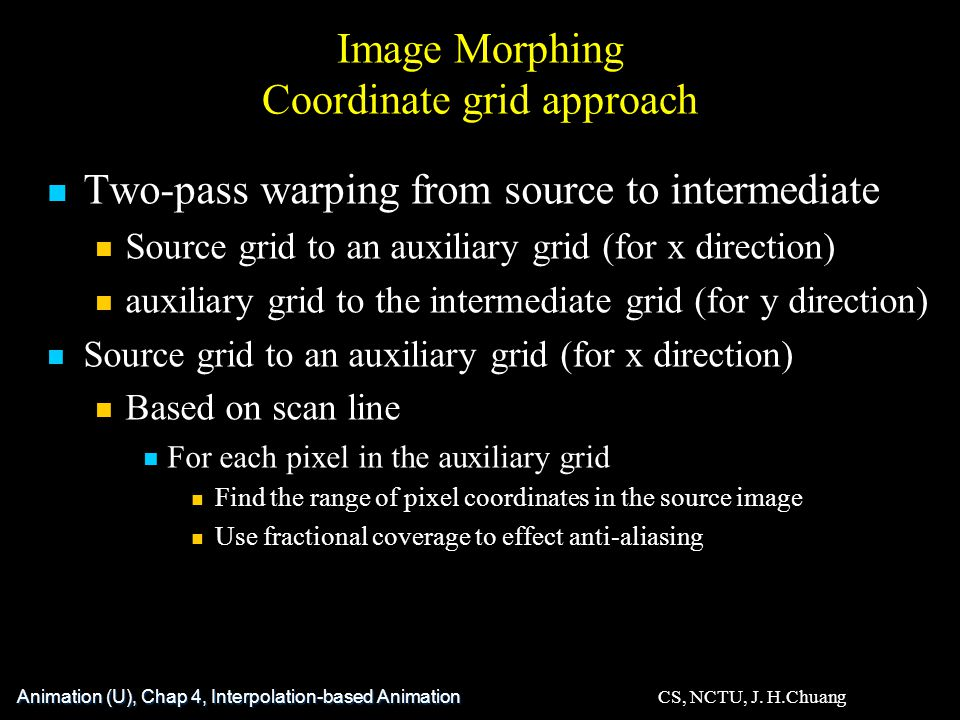 Image Morphing Coordinate grid approach Two-pass warping from source to intermediate Source grid to an auxiliary grid (for x direction) auxiliary grid to the intermediate grid (for y direction) Source grid to an auxiliary grid (for x direction) Based on scan line For each pixel in the auxiliary grid Find the range of pixel coordinates in the source image Use fractional coverage to effect anti-aliasing Animation (U), Chap 4, Interpolation-based Animation CS, NCTU, J.