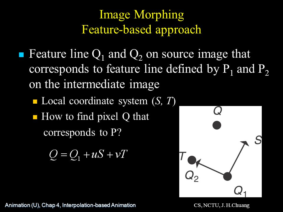 Image Morphing Feature-based approach Feature line Q 1 and Q 2 on source image that corresponds to feature line defined by P 1 and P 2 on the intermediate image Local coordinate system (S, T) How to find pixel Q that corresponds to P.