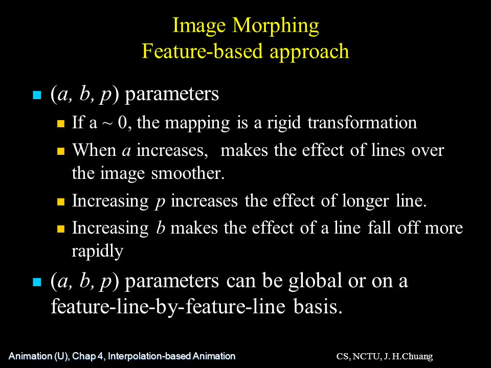 Image Morphing Feature-based approach (a, b, p) parameters If a ~ 0, the mapping is a rigid transformation When a increases, makes the effect of lines over the image smoother.
