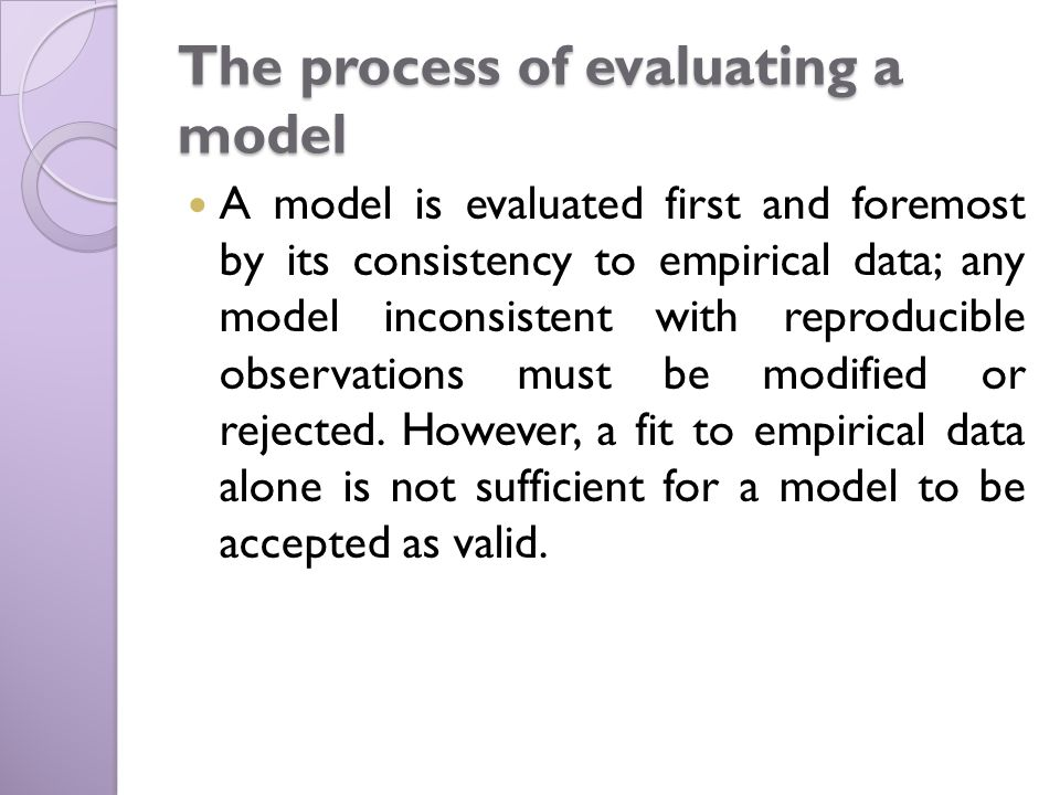 The process of evaluating a model A model is evaluated first and foremost by its consistency to empirical data; any model inconsistent with reproducible observations must be modified or rejected.