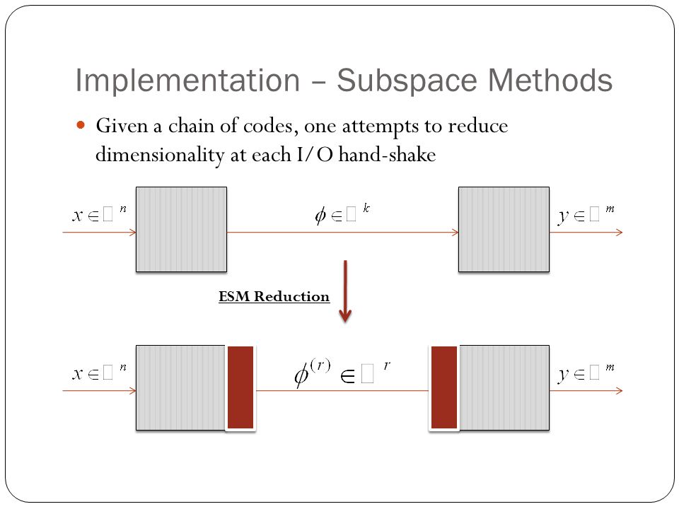 Implementation – Subspace Methods Given a chain of codes, one attempts to reduce dimensionality at each I/O hand-shake ESM Reduction