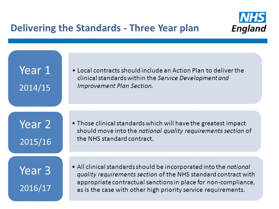 Delivering the Standards - Three Year plan Local contracts should include an Action Plan to deliver the clinical standards within the Service Developm