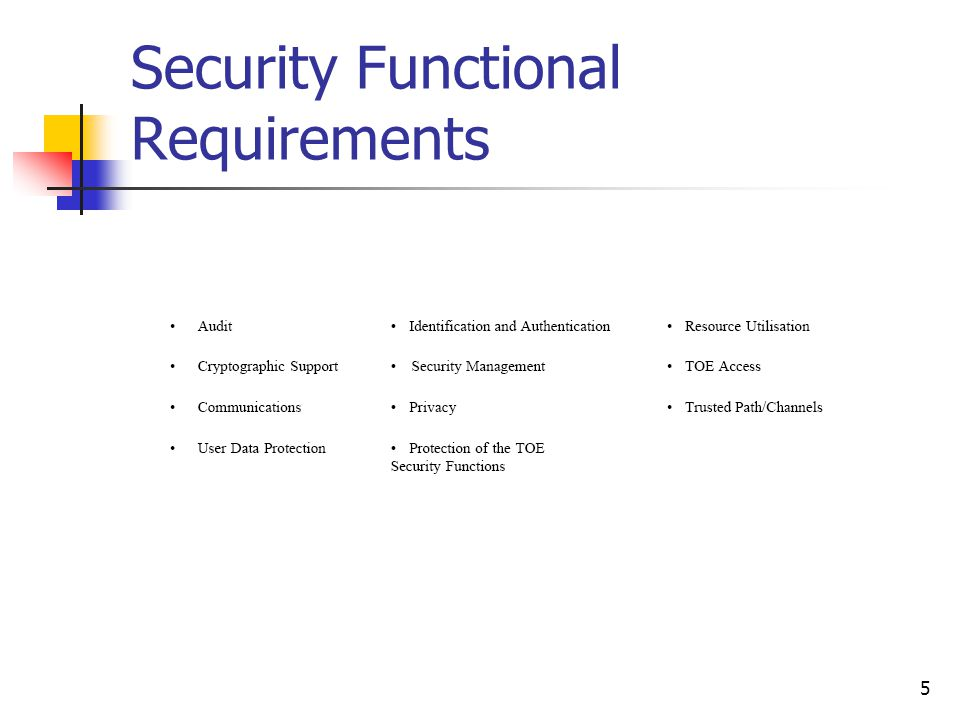5 Security Functional Requirements