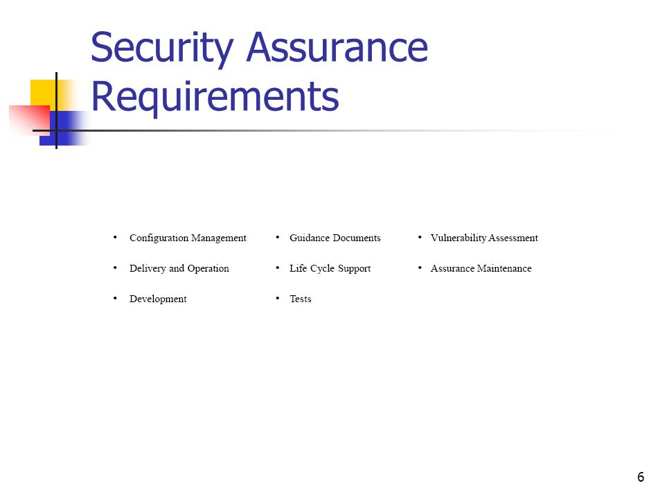 6 Security Assurance Requirements