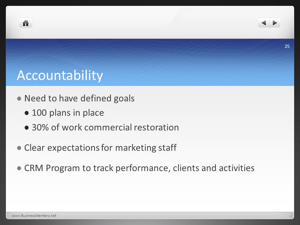 Accountability Need to have defined goals 100 plans in place 30% of work commercial restoration Clear expectations for marketing staff CRM Program to