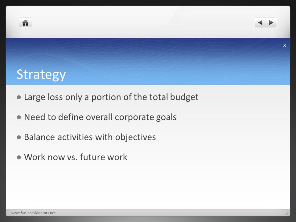Strategy Large loss only a portion of the total budget Need to define overall corporate goals Balance activities with objectives Work now vs.