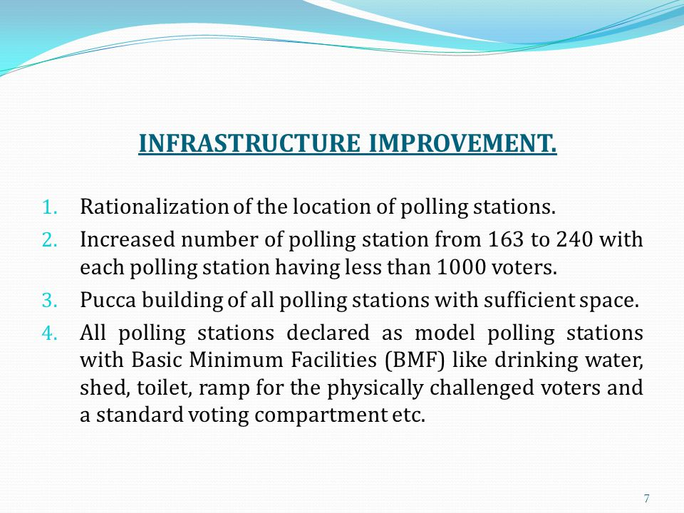 INFRASTRUCTURE IMPROVEMENT. 1. Rationalization of the location of polling stations.