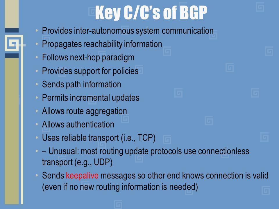 Key C/C's of BGP Provides inter-autonomous system communication Propagates reachability information Follows next-hop paradigm Provides support for pol