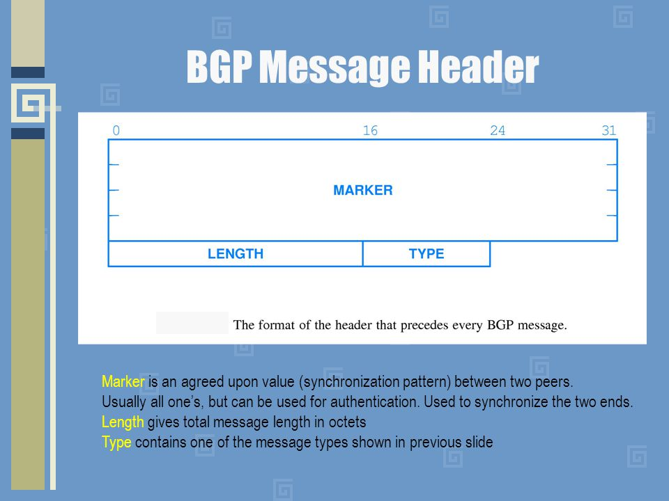 BGP Message Header Marker is an agreed upon value (synchronization pattern) between two peers. Usually all one's, but can be used for authentication.