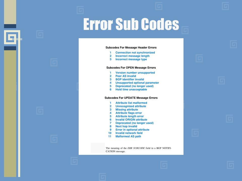 Error Sub Codes