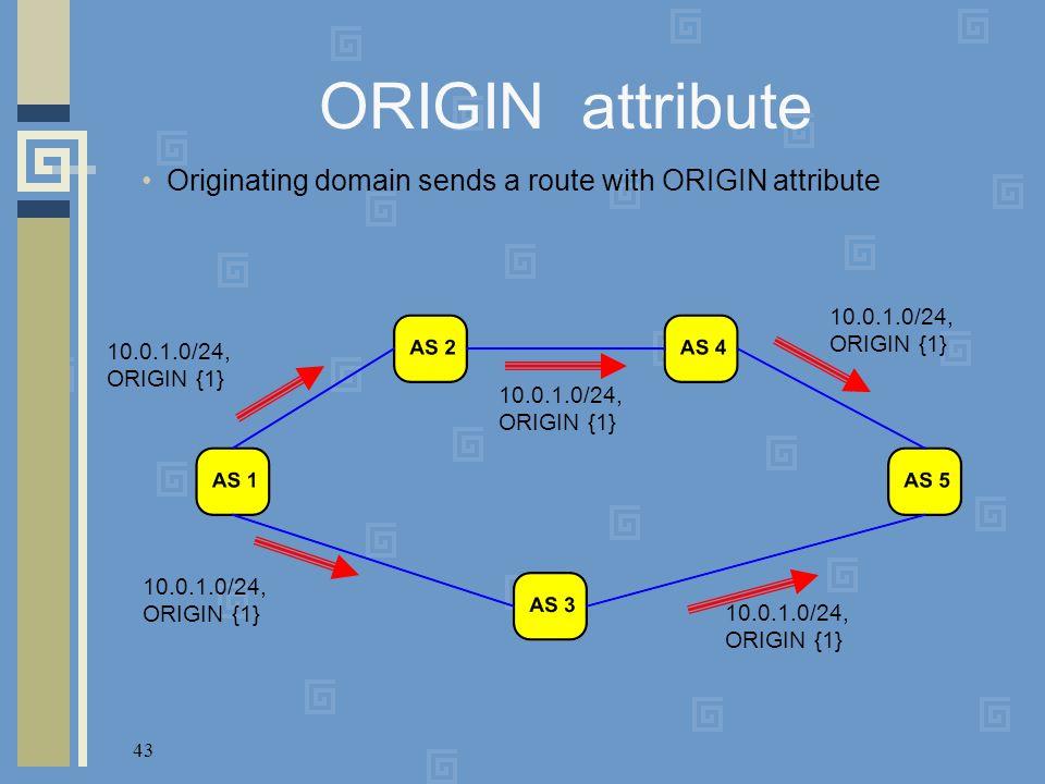 43 ORIGIN attribute Originating domain sends a route with ORIGIN attribute 10.0.1.0/24, ORIGIN {1}