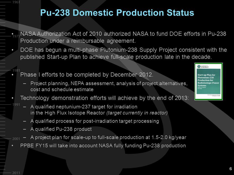Pu-238 Domestic Production Status NASA Authorization Act of 2010 authorized NASA to fund DOE efforts in Pu-238 Production under a reimbursable agreeme