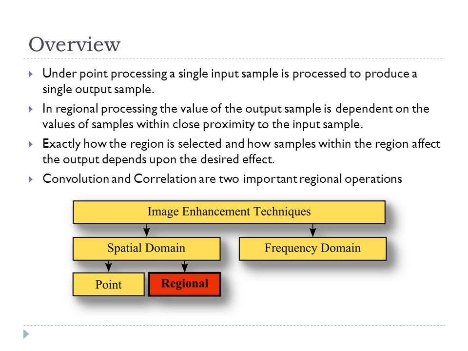Overview  Under point processing a single input sample is processed to produce a single output sample.