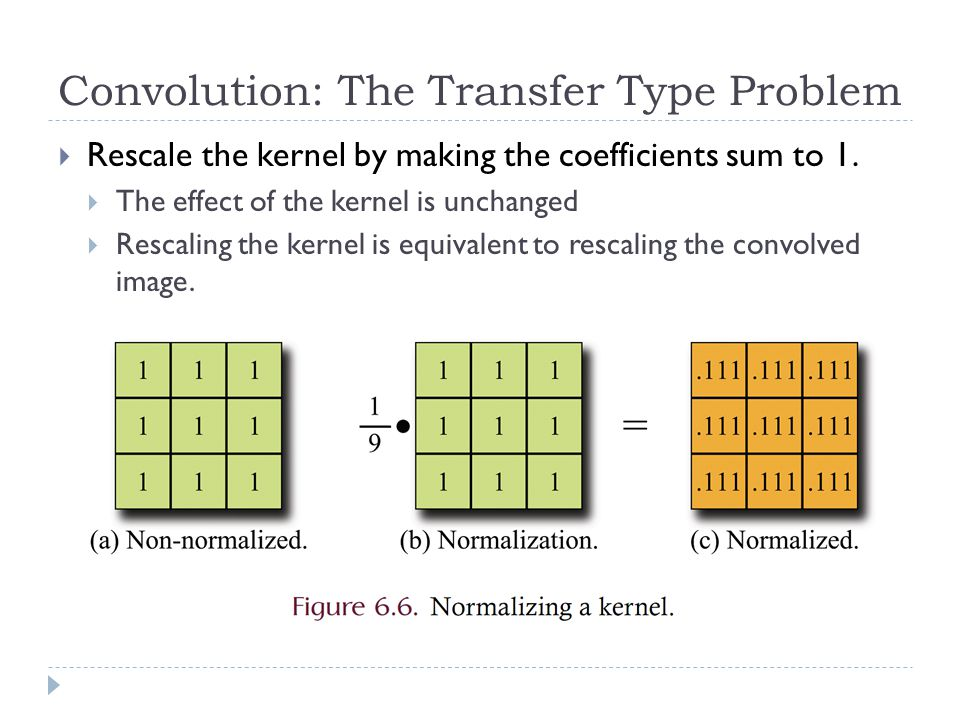 Convolution: The Transfer Type Problem  Rescale the kernel by making the coefficients sum to 1.