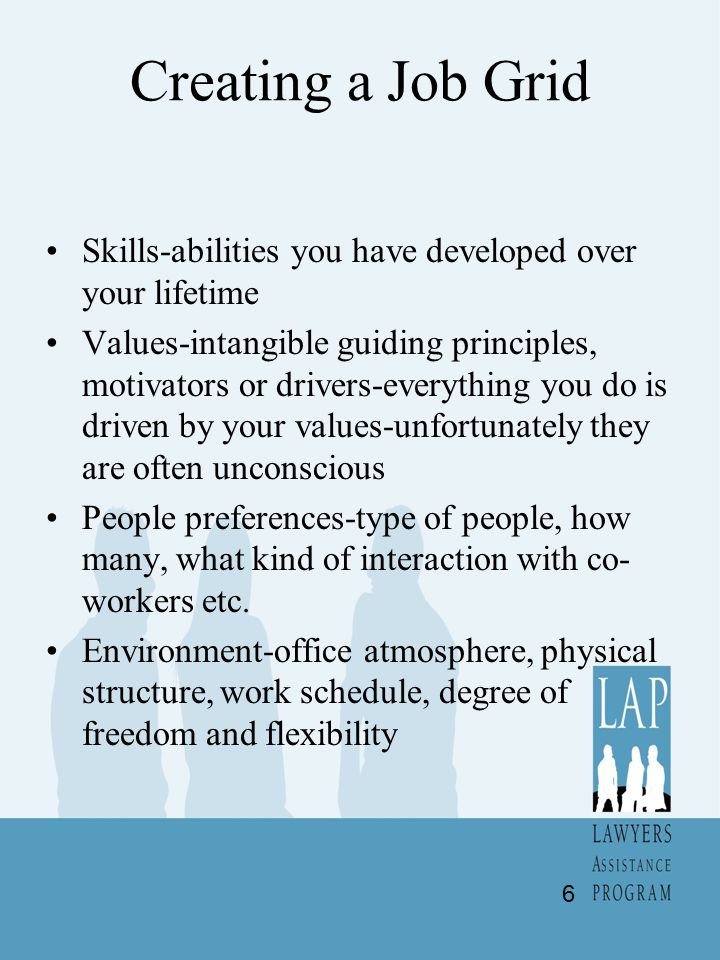 Creating a Job Grid Skills-abilities you have developed over your lifetime Values-intangible guiding principles, motivators or drivers-everything you do is driven by your values-unfortunately they are often unconscious People preferences-type of people, how many, what kind of interaction with co- workers etc.