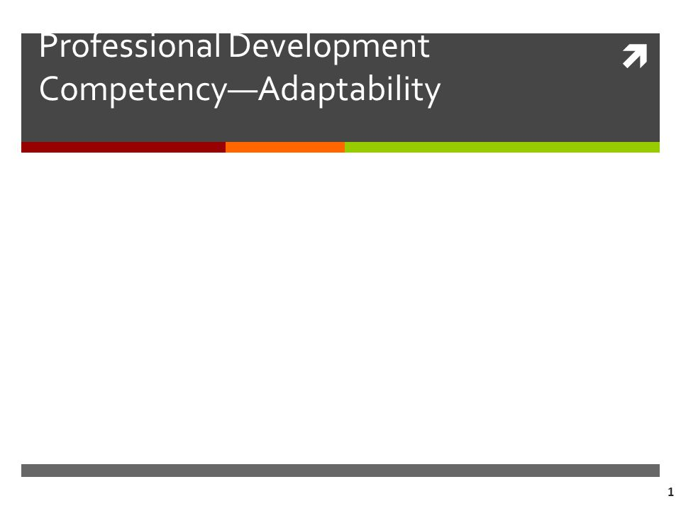  1 Professional Development Competency—Adaptability