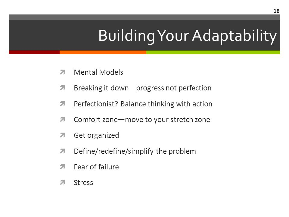 Building Your Adaptability  Mental Models  Breaking it down—progress not perfection  Perfectionist.