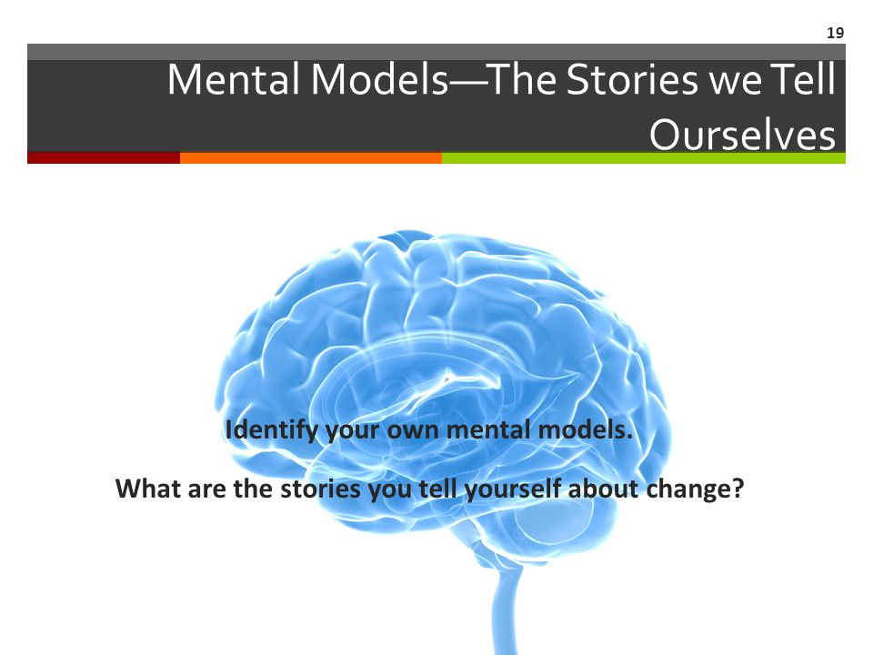 Mental Models—The Stories we Tell Ourselves 19 Identify your own mental models.