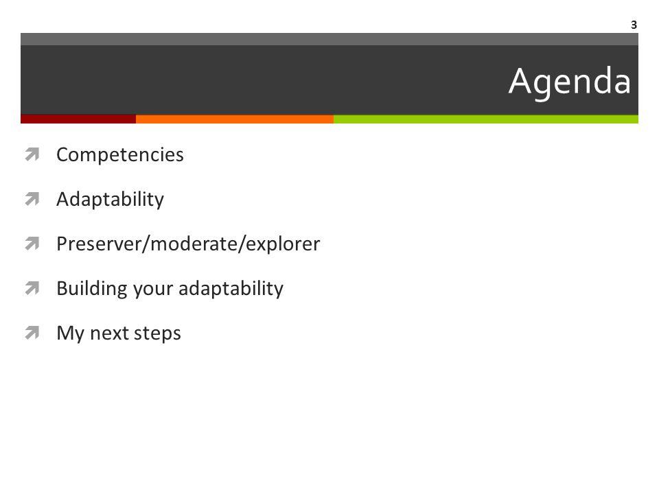 Agenda  Competencies  Adaptability  Preserver/moderate/explorer  Building your adaptability  My next steps 3