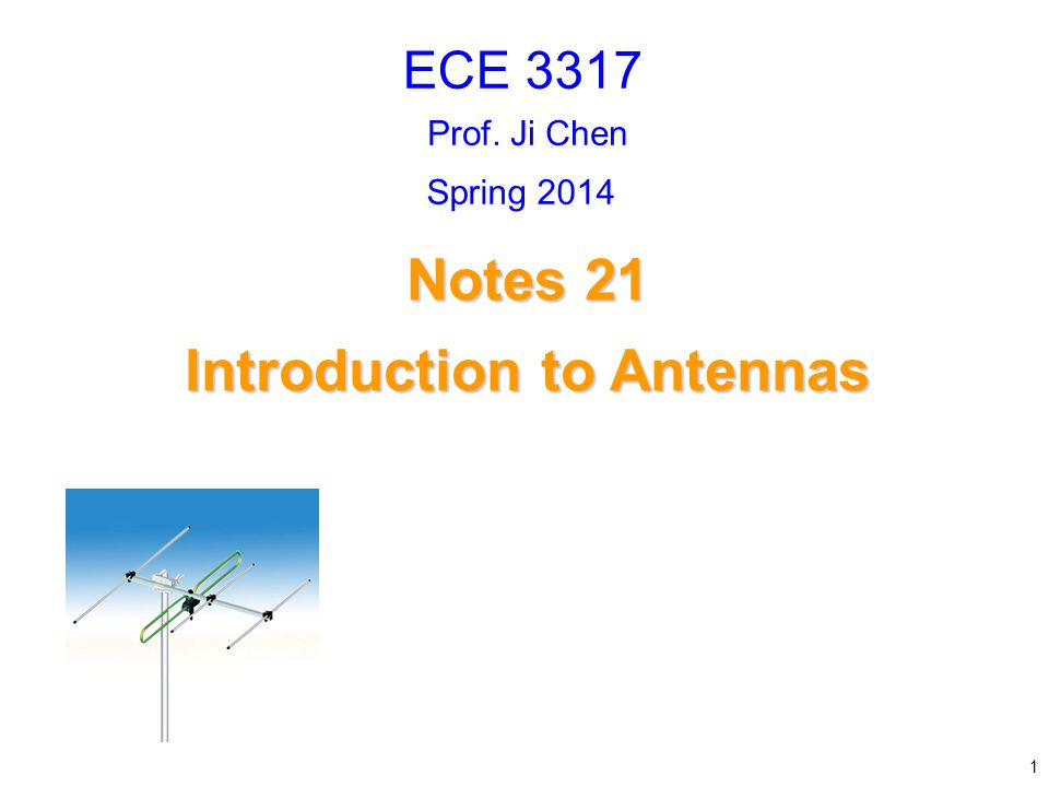 Introduction to Antennas (cont.) Log-Periodic Antenna This consists of multiple dipole antennas of varying lengths, connected together.