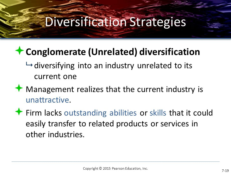 Diversification Strategies  Conglomerate (Unrelated) diversification  diversifying into an industry unrelated to its current one  Management realiz