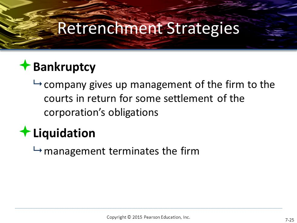 Retrenchment Strategies  Bankruptcy  company gives up management of the firm to the courts in return for some settlement of the corporation's obliga