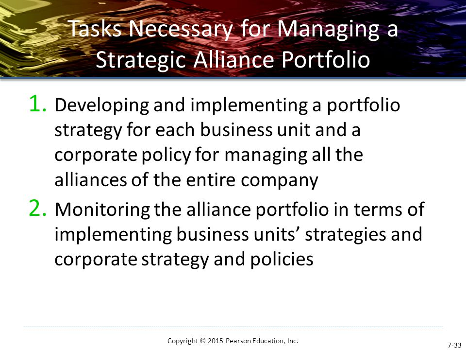 Tasks Necessary for Managing a Strategic Alliance Portfolio 1. Developing and implementing a portfolio strategy for each business unit and a corporate
