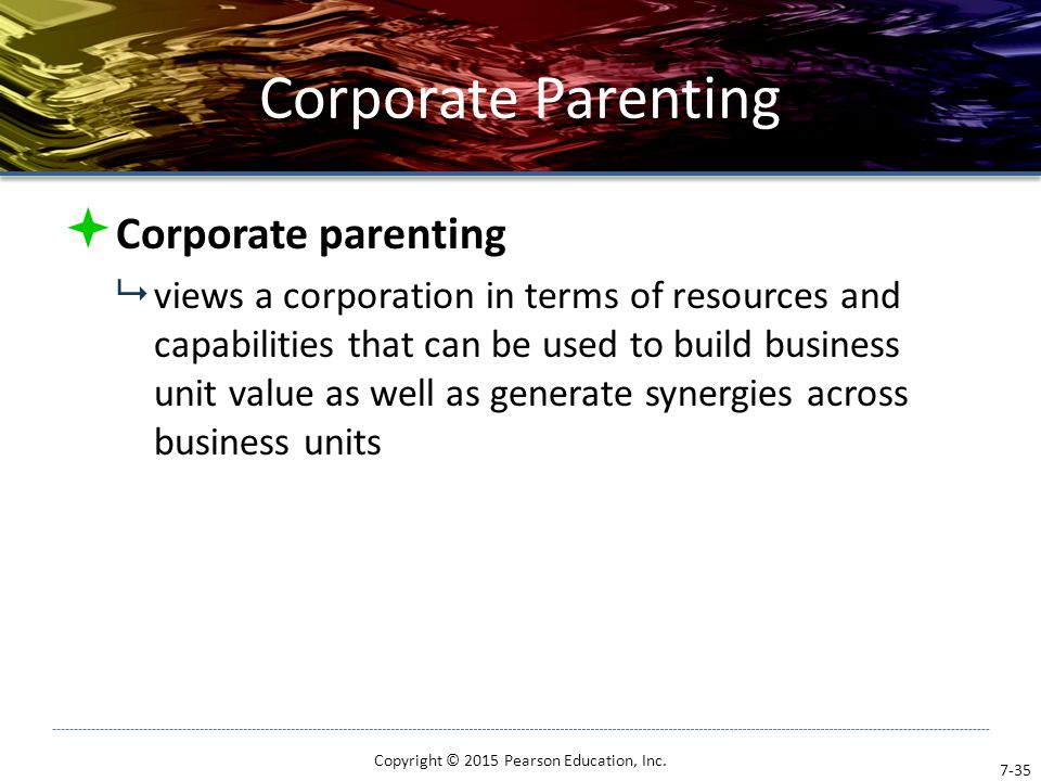 Corporate Parenting  Corporate parenting  views a corporation in terms of resources and capabilities that can be used to build business unit value a