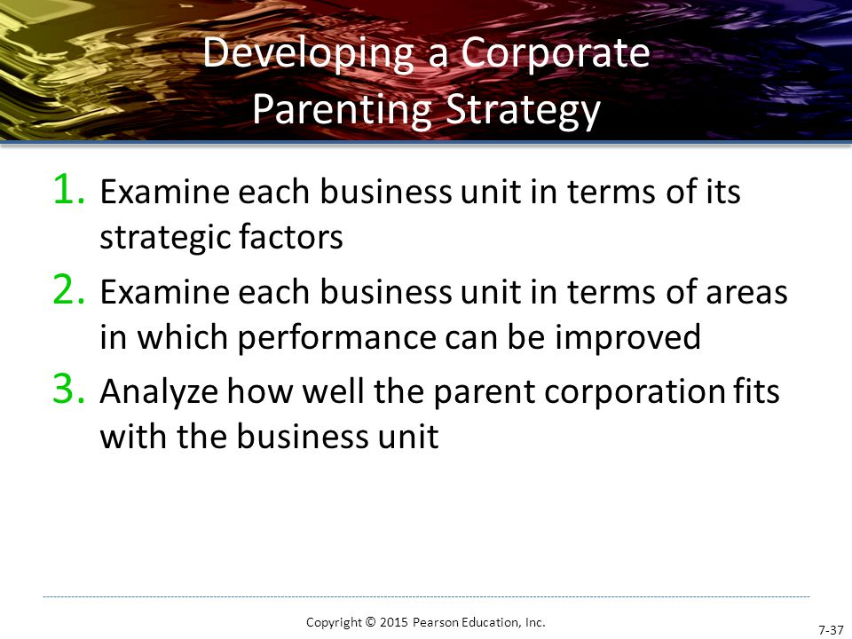Developing a Corporate Parenting Strategy 1. Examine each business unit in terms of its strategic factors 2. Examine each business unit in terms of ar