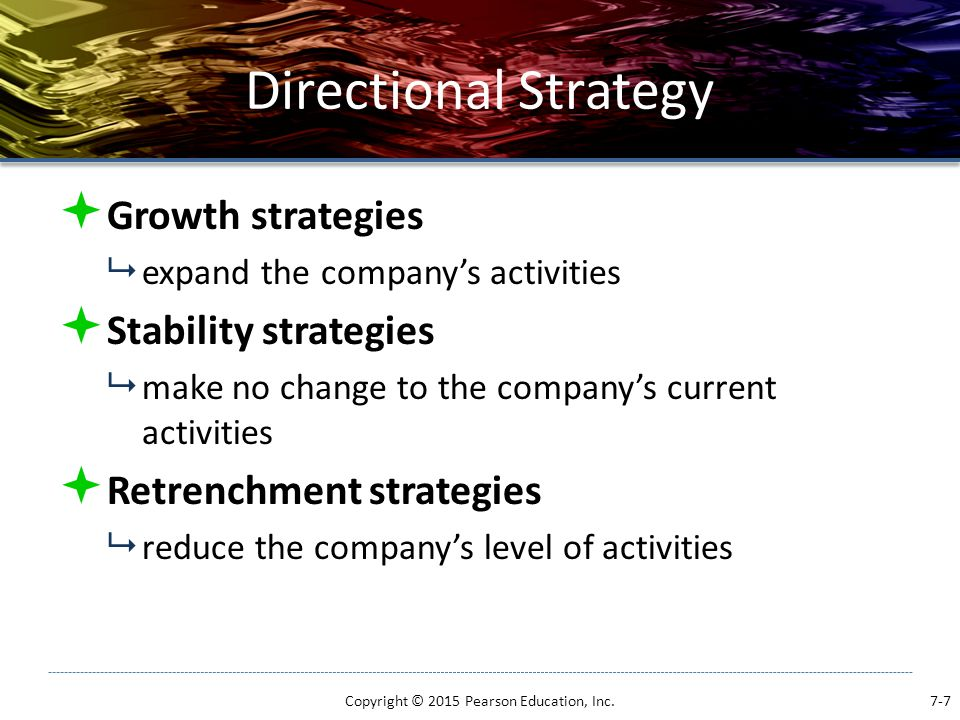 Diversification Strategies  Concentric (Related) diversification  growth into a related industry when a firm has a strong competitive position but attractiveness is low  Synergy  the concept that two businesses will generate more profits together than they could separately Copyright © 2015 Pearson Education, Inc.