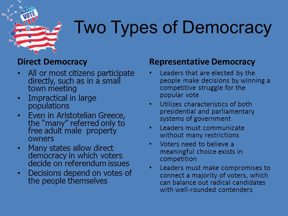 Two Types of Democracy Direct Democracy All or most citizens participate directly, such as in a small town meeting Impractical in large populations Ev