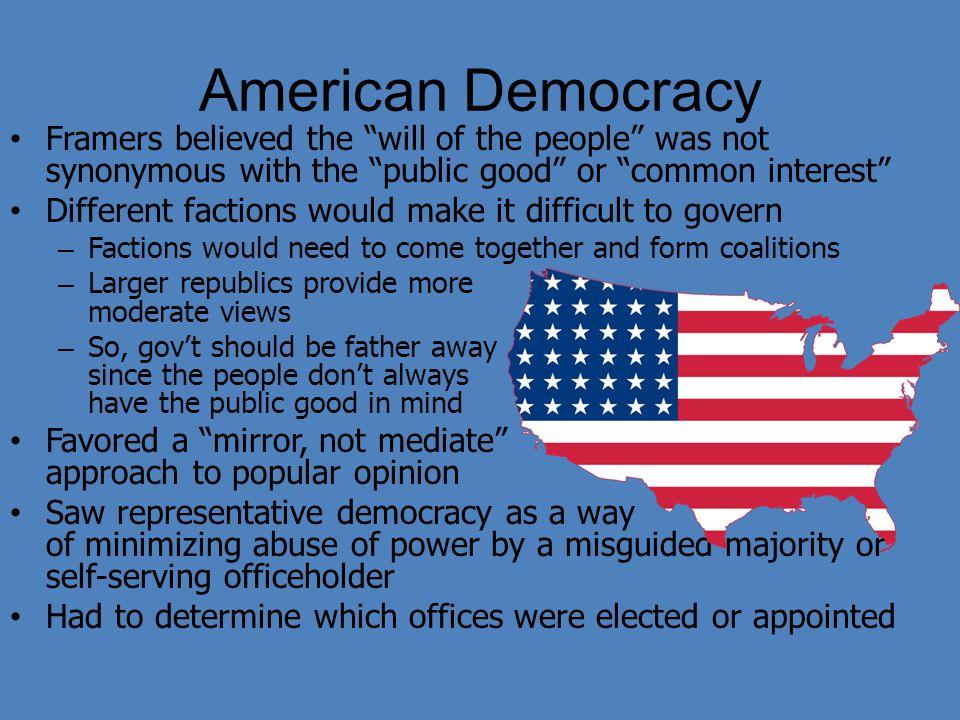 Democracy American Government American Democracy Framers