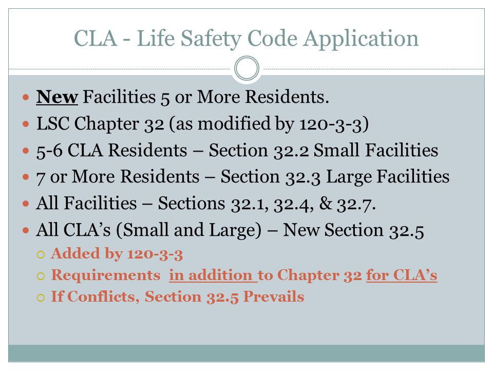 CLA - Life Safety Code Application New Facilities 5 or More Residents.