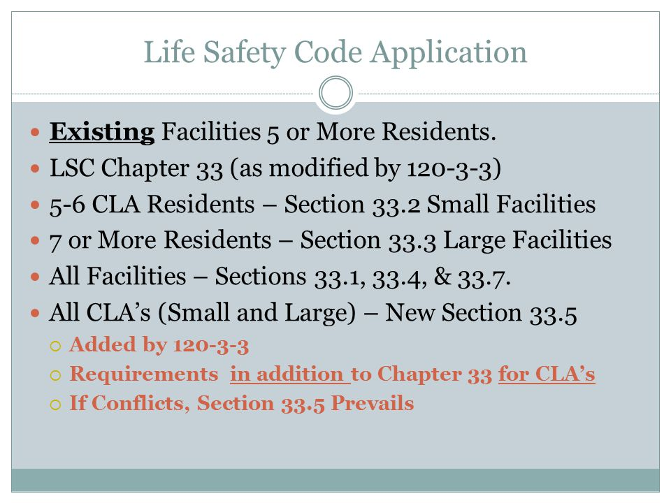 Life Safety Code Application Existing Facilities 5 or More Residents.