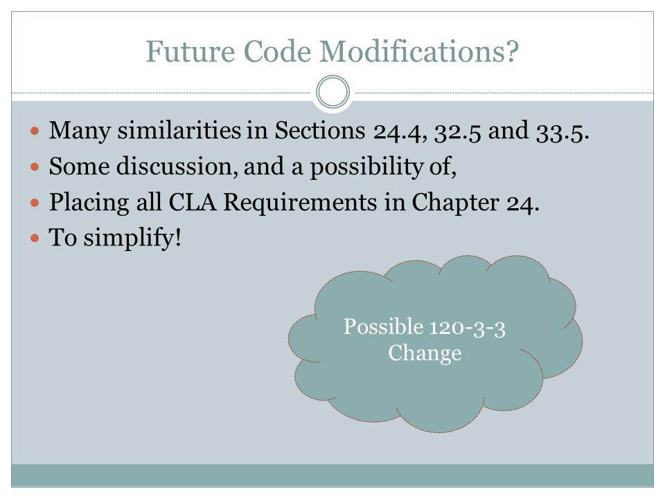 Future Code Modifications.Many similarities in Sections 24.4, 32.5 and 33.5.