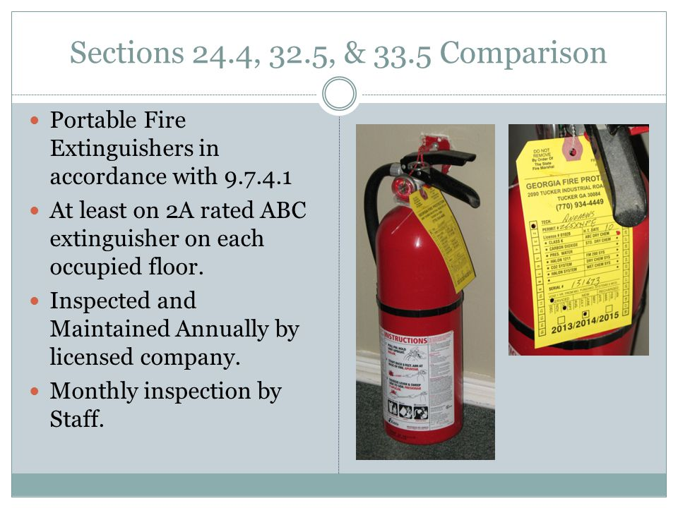 Portable Fire Extinguishers in accordance with 9.7.4.1 At least on 2A rated ABC extinguisher on each occupied floor.