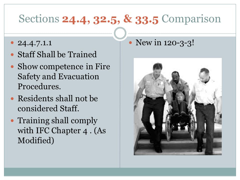 Sections 24.4, 32.5, & 33.5 Comparison 24.4.7.1.1 Staff Shall be Trained Show competence in Fire Safety and Evacuation Procedures.