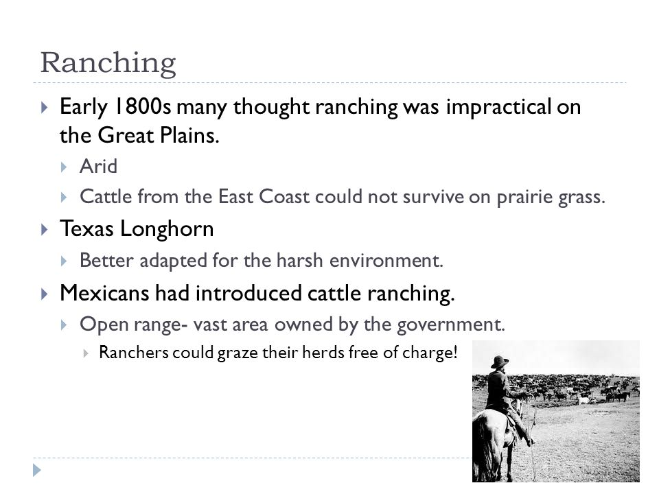 Ranching  Early 1800s many thought ranching was impractical on the Great Plains.