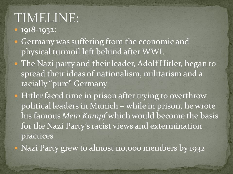 1918-1932: Germany was suffering from the economic and physical turmoil left behind after WWI.