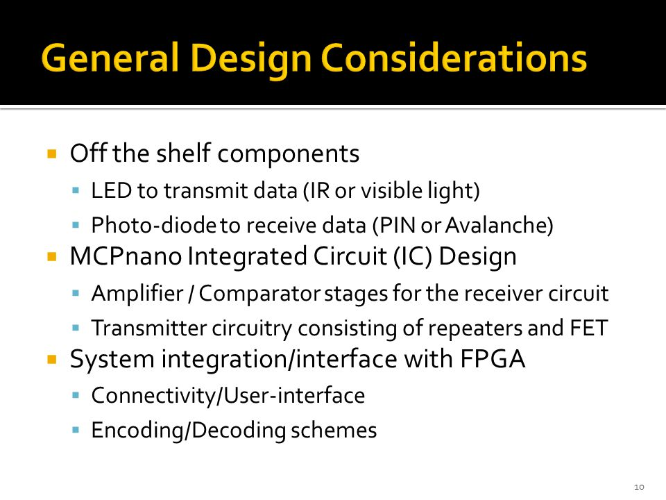  Off the shelf components  LED to transmit data (IR or visible light)  Photo-diode to receive data (PIN or Avalanche)  MCPnano Integrated Circuit (IC) Design  Amplifier / Comparator stages for the receiver circuit  Transmitter circuitry consisting of repeaters and FET  System integration/interface with FPGA  Connectivity/User-interface  Encoding/Decoding schemes 10