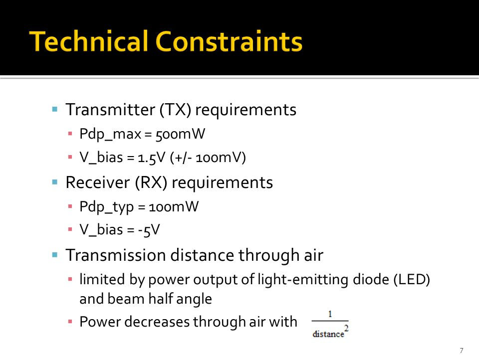  Transmitter (TX) requirements ▪ Pdp_max = 500mW ▪ V_bias = 1.5V (+/- 100mV)  Receiver (RX) requirements ▪ Pdp_typ = 100mW ▪ V_bias = -5V  Transmission distance through air ▪ limited by power output of light-emitting diode (LED) and beam half angle ▪ Power decreases through air with 7