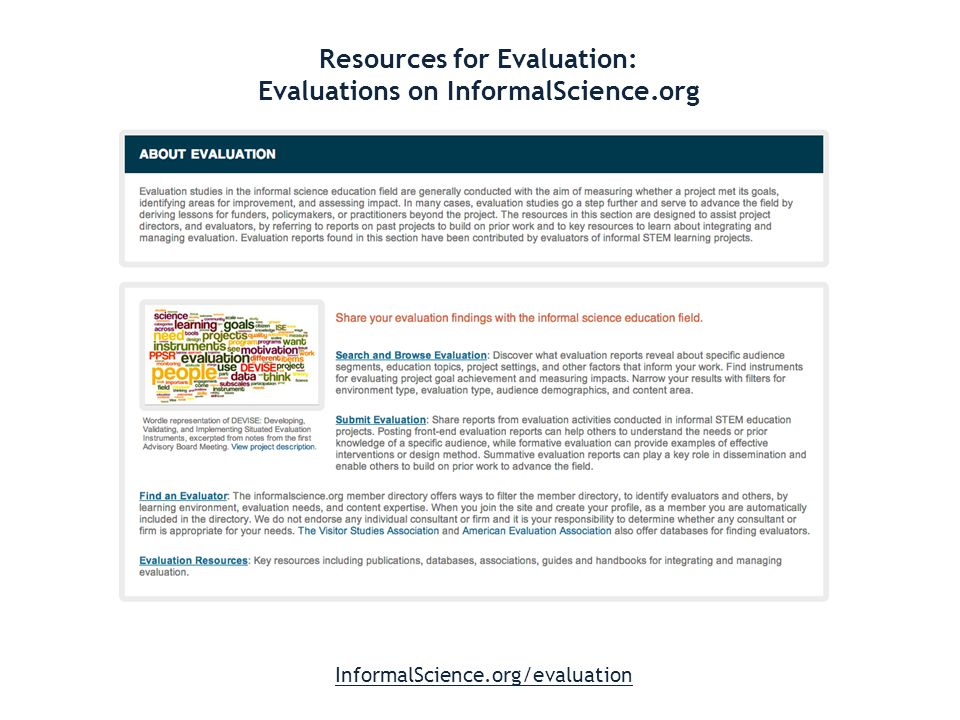 Resources for Evaluation: Evaluations on InformalScience.org InformalScience.org/evaluation