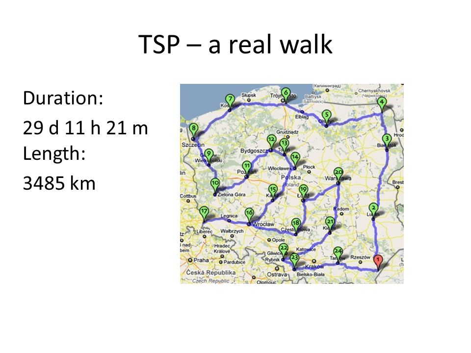 TSP – a real walk Duration: 29 d 11 h 21 m Length: 3485 km