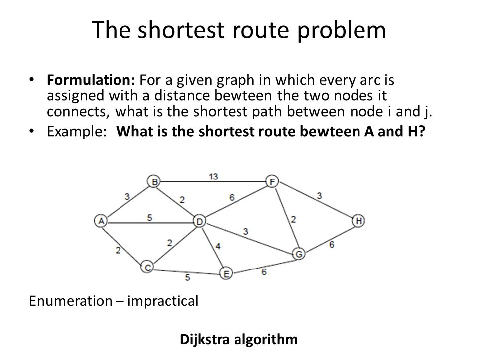 The shortest route problem Formulation: For a given graph in which every arc is assigned with a distance bewteen the two nodes it connects, what is the shortest path between node i and j.
