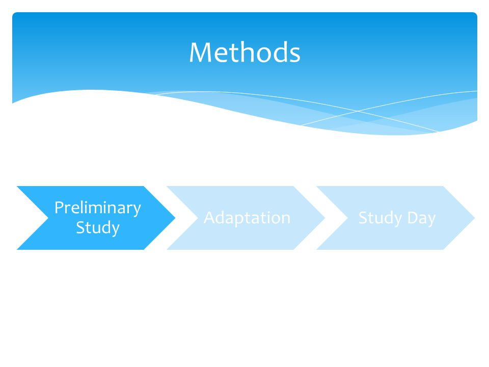 Methods Preliminary Study AdaptationStudy Day