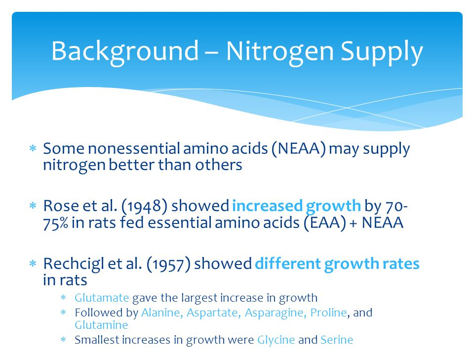  Some nonessential amino acids (NEAA) may supply nitrogen better than others  Rose et al.